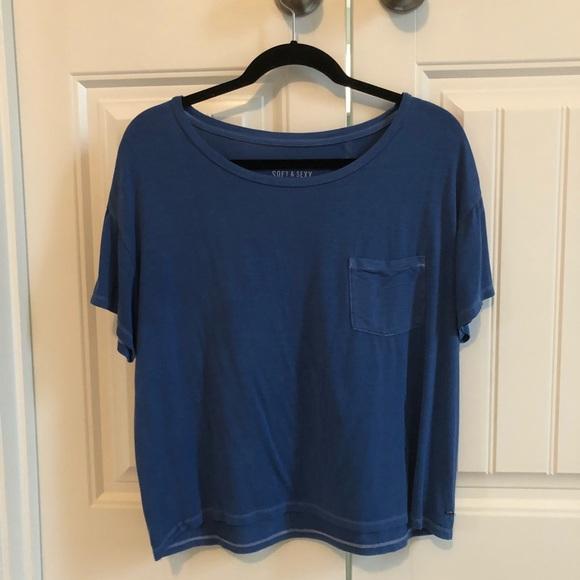 567704754 American Eagle Outfitters Tops | Ae Blue Boxy Tshirt | Poshmark
